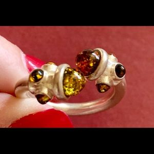 Sterling Silver Ring with various colors of amber!